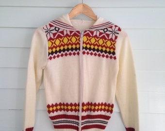 Vintage Knit Sweater, Zip Up Sweater, Vintage Cardigan, Vintage Hoodie, Vintage Ski Sweater, Vintage Winter Sweater, XS-S