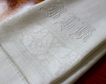 Vintage Linen Towel Runner Dresser Scarf Damask Bath Acorns Oak Leaves Monogram White Hand Embroidery