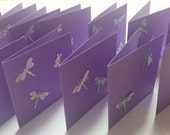 Handmade Notecards - Small Notecards - Blank Notecards - Dragonfly Notecards - Purple Notecards