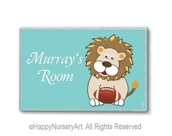 Lion Nursery Sign, Personalized door sign,Baby nursery door sign, nursery sign, personalized baby sign, lion, football, soccer, basketball