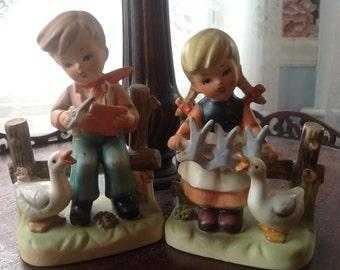 Boy and Girl Hummel Style Figurines Japan