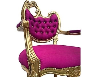 French Rococo Baroque Carved Upholstered Arm Chair Hollywood Fuchsia Magenta Designer Silk Crystal Buttons Nail Head Gold Leaf Gilded