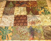 """14"""" x 14"""" Batiks Pillow COVER - 16 Chocoloate Mocha Brown Squares of Woodland Cabin for Writers Soothing Nature"""