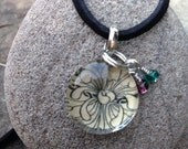 Flowered Glass Chip Pendant Strung with Suede Cording Accented with Beads