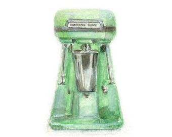Watercolor Blender, Vintage Blender Print, Hamilton Beach Shake Blender Print