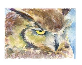 Watercolor Owl, Owl Print, Horned Owl Print