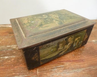 Vintage French Tin Box Shabby Chic Biscuit or Cookie Tin Decoration Display C. 1900 Musical scenes