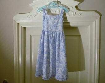 Vintage Girls Age 6 Toile de Joue Summer Dress Pale Blue and White with Ruffled Edging French Pure Cotton