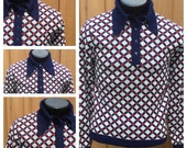 Vintage 70s FUNKY Long Sleeve - Red, White & Blue SWEATER  SHIRT --  Retro 1970s Butterfly Collar