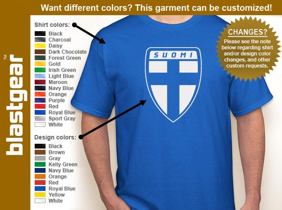 SUOMI Finland Cross Shield T-shirt — Any color/Any size - Adult S, M, L, XL, 2XL, 3XL, 4XL, 5XL  Youth S, M, L, XL