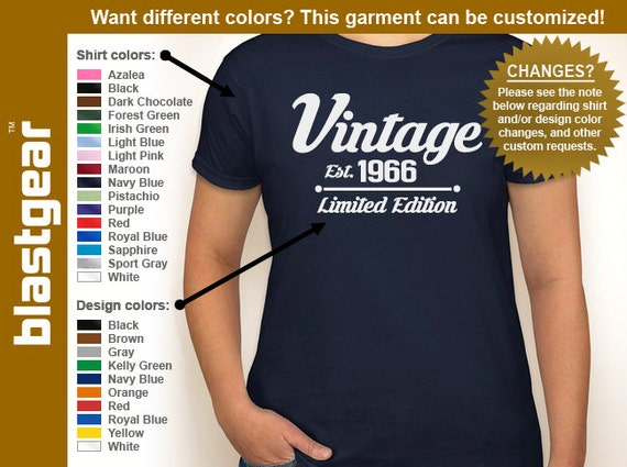 Vintage Est. 1966 (or any year) Limited Edition 50th Birthday womens T-shirt — Any color/Any size - Adult S, M, L, XL, 2XL, 3XL