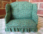 AUTUMN SALE:  Miniature Dollhouse Wingback Sofa in Floral Fabric, FREE shipping