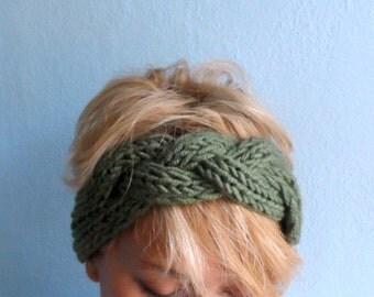 Chunky Hand Knit Headband Khaki Green Braid Hair Accessory Knitted Winter Headbands Head wrap Earwarmer Winter Accessories