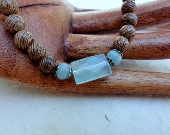 Aqua Quartz, Amazonite, Senna Wood, Beaded Bracelet - Mala Bead Stretch Bracelet - Stackable Beaded Bracelet