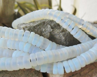 Matte Finish Translucent Big Hole Heishi Beads 10MM Clear to White 8""
