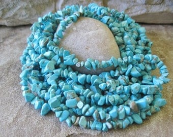 "Turquoise Howlite Medium Nugget Chip Beads Blue Turquoise 36 "" Strand"