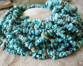 Natural Turquoise Small Medium Chip beads Blue Green 35 inch strand