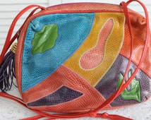 Vintage Leather Cross Body Bag by Sharif | Patchwork Leather | 90s
