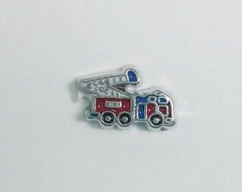 1 PC - Fireman Firetruck Enamel Silver Charm for Floating Locket JewelryF0014