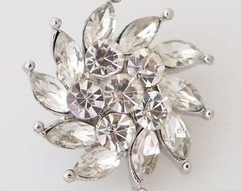 1 PC 18MM White Spiral Flower Rhinestone Silver Candy Snap Charm kb7372 CC0833