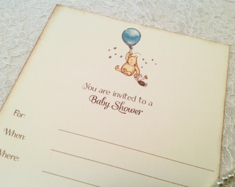 Fill in Blank Baby Shower Invitations-Pooh Balloon Baby Shower Invitations-Blank Shower Invitations-Set of 10