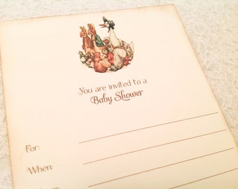 Baby Shower Fill in Invitations-Beatrix Potter Peter Rabbit Images Invitations-Gender neutral baby shower invitations-Set of 10