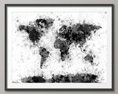 Paint Splashes Map of the World Map, Art Print (2045)