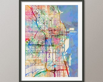 Chicago Map, Chicago Illinois City Street Map, Art Print (2057)