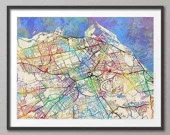 Edinburgh Map, Scotland, Edinburgh City Street Map Art Print (2059)