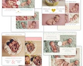 INSTANT DOWNLOAD - PSD Twins Birth announcement templates set -  e1194