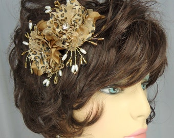 Silky Wedding Flowers, Set of 2, Leopard Print Flowers, Wedding Hair Accessories, REX15-215