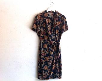 90s floral silk wrap dress / vintage navy blue shortsleeve mini dress s/m