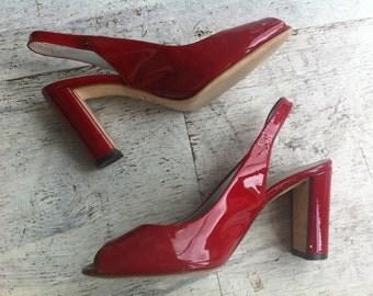 80s red patent leather peep toe heels 7 / vintage lipstick red slides 7