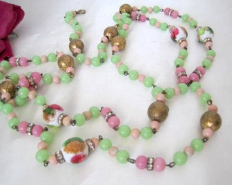 Art Glass Bead Necklace -  Lampwork Beads - Rhinestone Rondelles - 50 Inch Flapper Necklace
