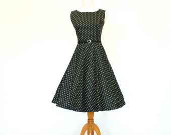 50's/60's Retro Fit and Flare Dress, Black Polka-Dot Dress, Circle Skirt Dress