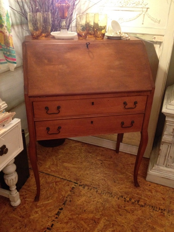 Sold Antique Drop Front Secretary Desk By Tesshome On Etsy