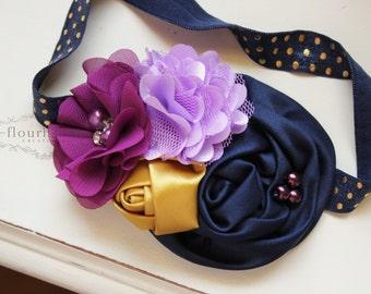 Plum, Lavender and Navy headband, navy headbands, newborn headbands, gold headbands, photography prop, navy and gold headbands