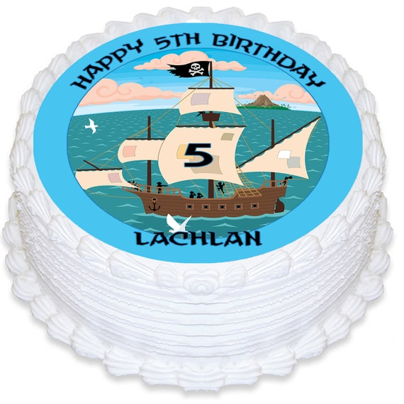 Edible Cake Images Pirate : Pirate Ship Personalised Round Edible Cake Topper - PRE ...