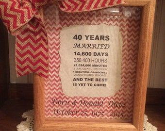 Personalized 40th Wedding Anniversary Gift Years, Months, & Days Countdown 8 x 10 Wooden Shadow Box FREE SHIPPING