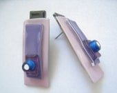 Fused Glass Artisan Made Vintage Earrings in Layers of Black, Purple, Lavender, Blue, & White.