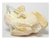 Clear Quartz Crystal Point growing in pale yellow Barite nodule Vintage Find from Colombia
