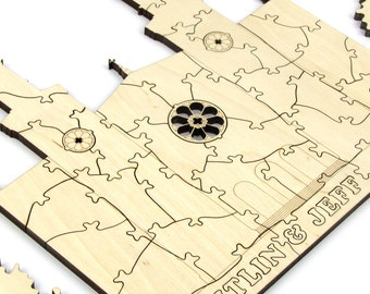 """150 Piece Alternative Wedding Guest Book Puzzle - """"The Cathedral"""" - Laser Cut with Custom Names, Initials in Heart, and Bridal Silhouette"""