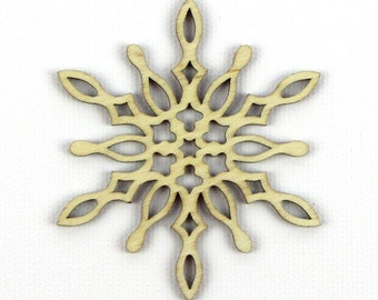 Icy Spike - Laser Cut Wood Snowflake in Multiple Sizes and Quantity Discounts