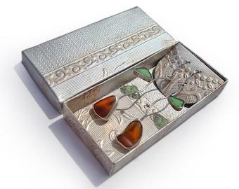 Sterling Silver Earrings.Sea Glass Earrings. Flower Earrings. Genuine Brown and Green Sea Glass Earrings. Great Gift Idea.