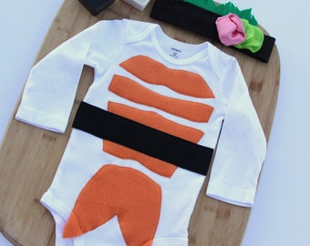 Sushi Baby Halloween Costume and Headband, Baby Halloween Costume, Long Or Short Sleeve Sushi Costume, Newborn Costume
