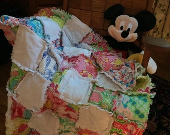 Baby Rag Quilt made with Lilly Pulitzer fabric