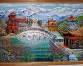 Shangri La Serenity,Travel Art, Asia Art, Dan Leasure Oil, 36 x 24, unframed