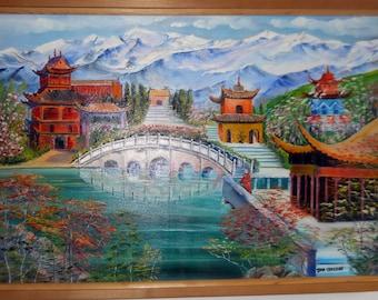 Shangri La, Asian Landscape, Red Pagodas, Lake, Forest, Framed, 36x24,  Dan Leasure Oil
