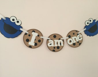 Cookie Monster Banner/I am One banner/ High Chair Banner/1st Birthday Banner/Party Decor