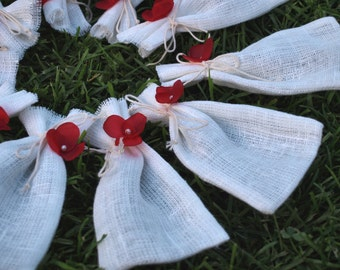 """Natural White Linen Favor Bags With Flowers 3 1/2""""x6"""" Set of 10"""
